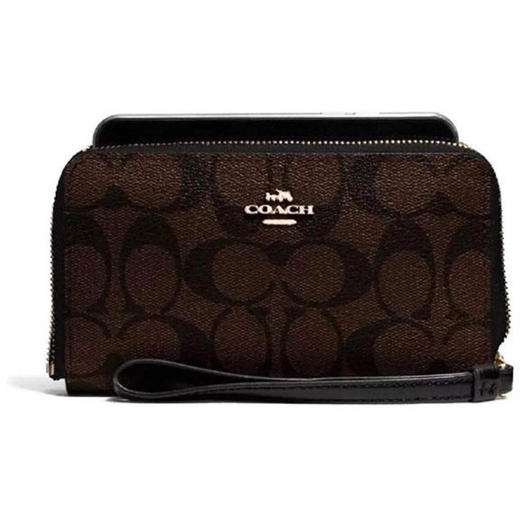 Coach Signature PVC Phone Wallet Brown Black - NWT c8cb04111238a